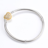 Authentic 100 925 Sterling Silver Snake Chain Gold Heart Pan Bracelet Luxury Women Charm Bead Jewelry
