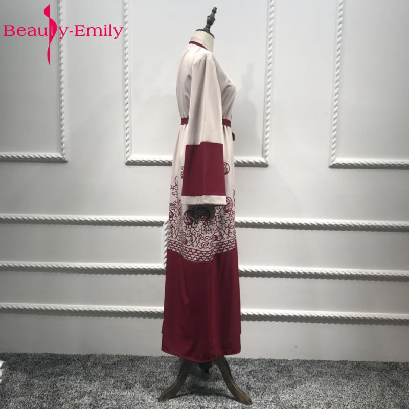 Beauty Emily Wine Red Plus Size Muslim Evening Dresses 2018 Women Formal Long Arab Evening Party Prom Dresses in Evening Dresses from Weddings Events