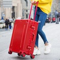 Женский деловой алюминиевый каркас багажный 20 носить одну кабину 25 29 проверенный багаж путешествия троллейбус Hardside чемодан