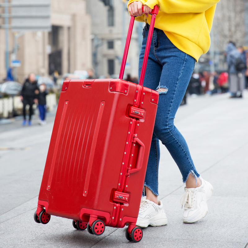 Women Business Aluminum Frame Luggage 20 Carry One Cabin 25 29 Checked Luggage Travel Trolley Rolling Hardside Luggage Suitcase 20 25 29 aluminum magnesium alloy metal luggage fashion spinner rolling suitcase business aluminum frame luggage