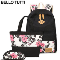 BELLO TUTTI 3Pcs Sets Womens Floral Backpacks Canvas School Book Bags Computer Backpack Women Student Bag