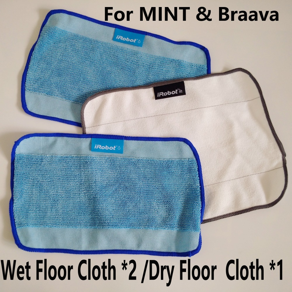 3pcs/Lot Cleaning cloth for iRobot Braava 380 380t 320 Mint 4200 4205 5200 5200C Mopping Cloths 10pcs lot high quality microfiber wet mopping cloths for irobot braava 321 380 320 380t mint 5200c 5200 4200 4205 robot