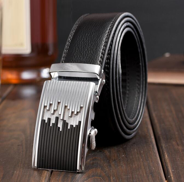 2016 New Arrival Men Genuine Leather Belt High Quality Automatic Buckle Leather Strap Large Size Cintos Femininos