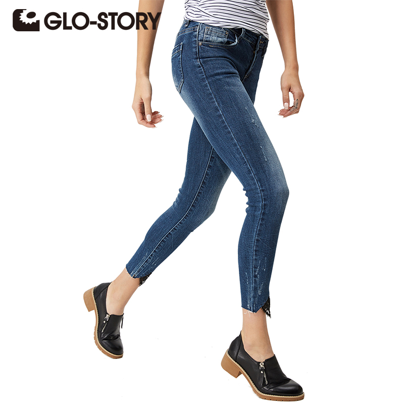GLO-STORY Women High waist jeans 2018 Spring Autumn Skinny Fashion Casual Female Ripped Jeans Denim Lace Pencil Pants WNK-3296 new 2017 hot sale womens casual black high waist torn jeans ripped hole skinny pencil pants sexy slim denim women jeans a0163