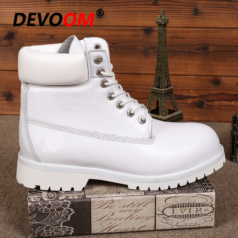 Mode blanc bottes hommes 2018 hommes véritable Dr cuir bottes chaussures neige bottes hommes hiver chaussures en cuir véritable fourrure unisexe baskets