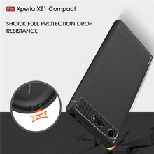 SuliCase Quality Carbon Fiber TPU Cases for Sony Xperia XZ1 Compact G8441 Cover Silicon Case for Sony XZ1 Compact Back Cover цена и фото
