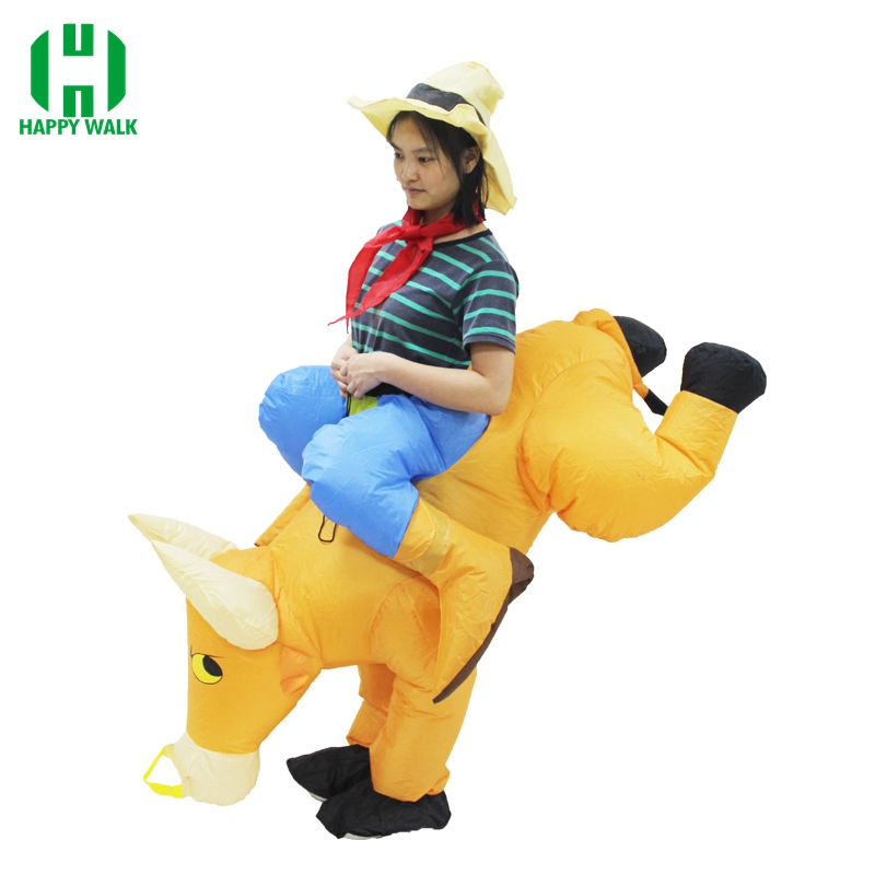 Free shipping Brown COWBOY Inflatable Costume Purim Halloween Cow Bull Carnival Costumes Fancy Dress Unisex Costumes