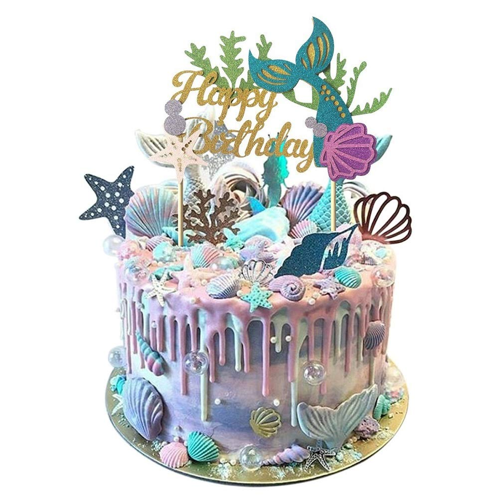Awe Inspiring Metable 1Pcs Glitter Mermaid Cake Topper Happy Birthday Cake Picks Personalised Birthday Cards Veneteletsinfo