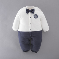 Winter Baby Thicken Gentleman Romper Toddler Infant Cotton Warm Jumpsuit Christmas New Year Party Clothes Cotton