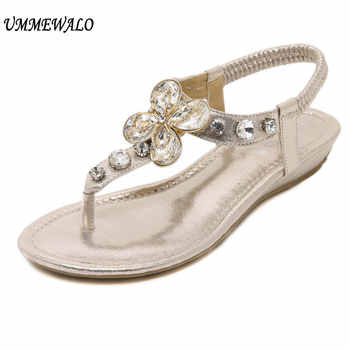 UMMEWALO Sandals Women Summer Rhinestone Heel T-strap Flip Flops Beach Thong Wedge's Shoes - DISCOUNT ITEM  0% OFF All Category