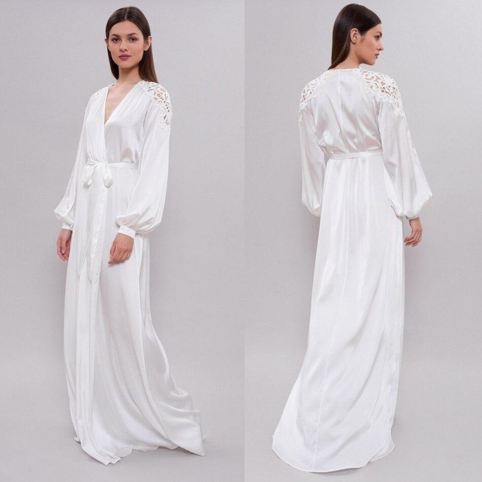 Custom Made Silk Night Robe Long Sleeves Lace Appliques Floor Length Sexy Bathrobes Women Sleepwear
