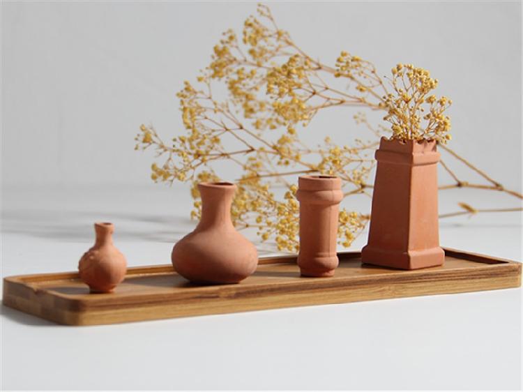 articulos decoracin jarrn de flores secas rojo arcilla maceta