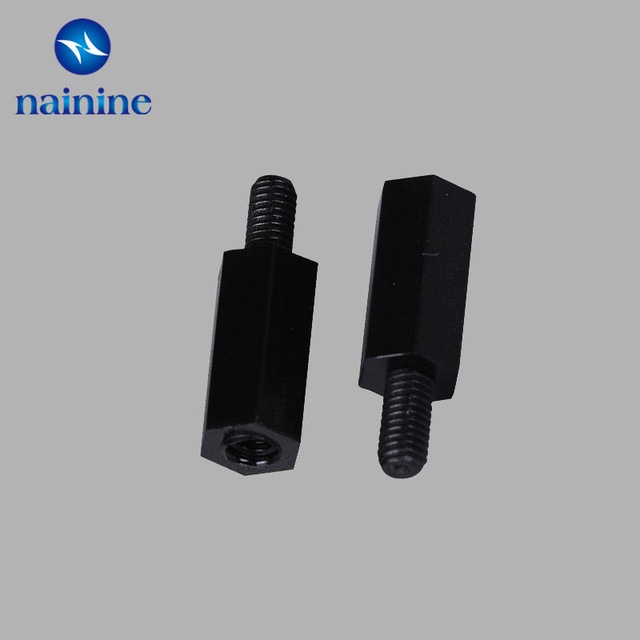 50Pcs M2*L+5mm M2.5/M3/M4*L+6mm Thread Black Spacing Screw Plastic For PCB Motherboard Fixed Nylon Standoff Spacer Pillar NL16