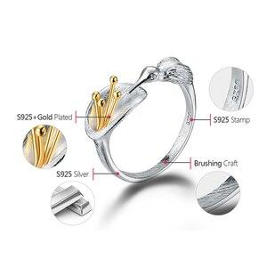 Image 5 - לוטוס כיף אמיתי 925 סטרלינג כסף ציפור טבעת Creative תכשיטים עיצוב מתכוונן Hummingbird טבעות לנשים מתנה לחג המולד