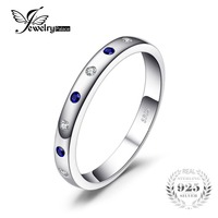 JewelryPalace 0.23ct Erstellt Sapphire Hochzeit Bands Ringe Echte 925 Sterling Silber Edlen Schmuck Mode Ringe Für Frauen
