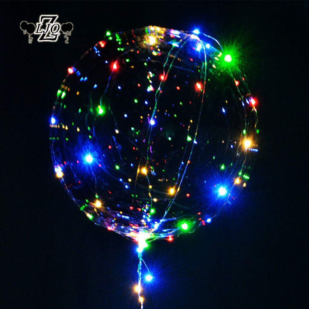 ZLJQ 18 24inch Clear Bubble Balloon Luminous LED Lights String Up Balloons Heart Ball Wedding Hen Party Happy Birthday Supplies