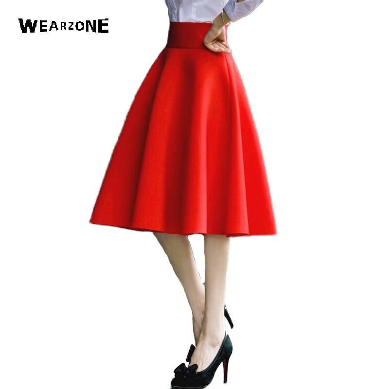 dd7588e4f Falda elegante de cintura alta hasta la rodilla Faldas acampanadas plisadas  de mujer de moda Falda Midi Faldas Saia 5XL talla grande damas Jupe