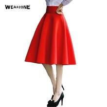 Taille haute Jupe Élégante Genou Longueur Femmes Pli Jupes Évasées Mode Femmes  Jupe Mi-longue e42eb249a5d0