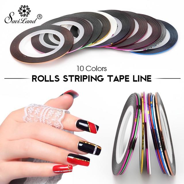 Saviland 10 teile/satz Rollen Striping Bänder Bunte Linie Nagel Aufkleber DIY Nail art Manicaure Schönheit Schmuck UV Gel Nagellack