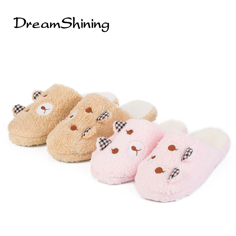 DreamShining Cute Bear Winter Warm Antiskid Slippers Soft Plush Indoor Couple Home Slipper Shoes Pantuflas Pantufa 2017 winter pantuflas pantufa love heart pattern cotton plush slippers soft warm floor indoor shoes women bedroom house slippers