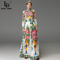 High Quality 2017 Autumn Runway Maxi Dresses Plus Size Women S Long Sleeve Elegant Belted Floral