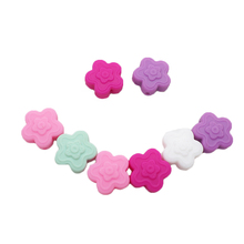 Chenkai 50PCS BPA Free Kapok Baby Teething Beads Silicone Flower For Food Grade Infant Nursing Teether Toy Accessories