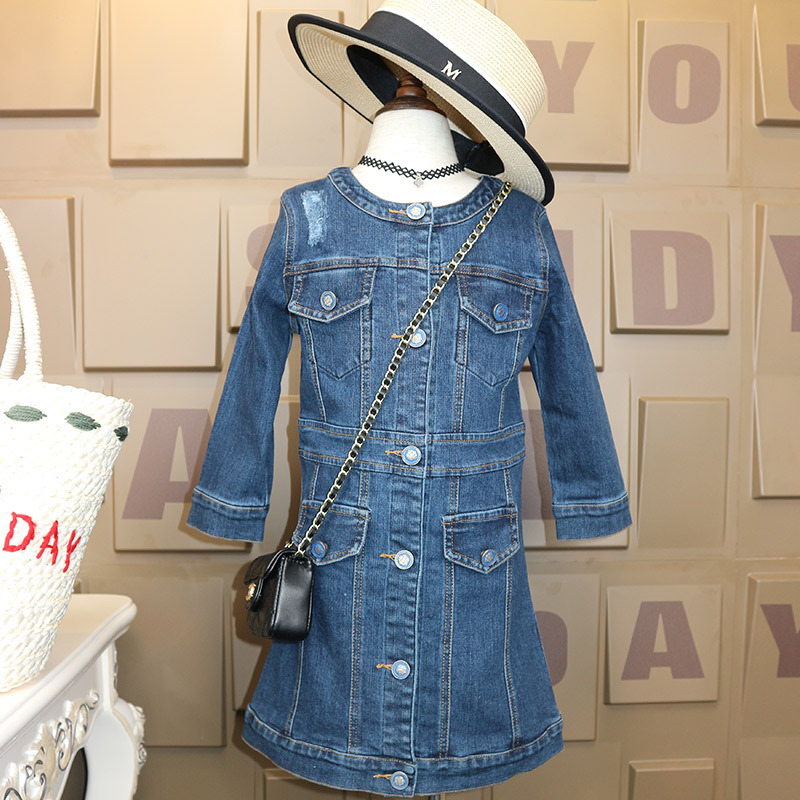 2017 Autumn Children's Garment New Pattern Girl Cowboy Dress Spring And Autumn Child Loose Kids Clothing русская история