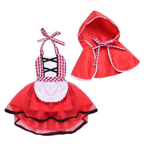 Fashion Red Newborn Baby Girl Infant Romper Tutu Dress+Hat Cloak Clothes Suspender Outfit 0-24M