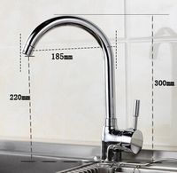 Classic Kichen Pure Brass Hot And Cold Kitchen Rotary Faucet With 60cm Braided Plumbing Hoses