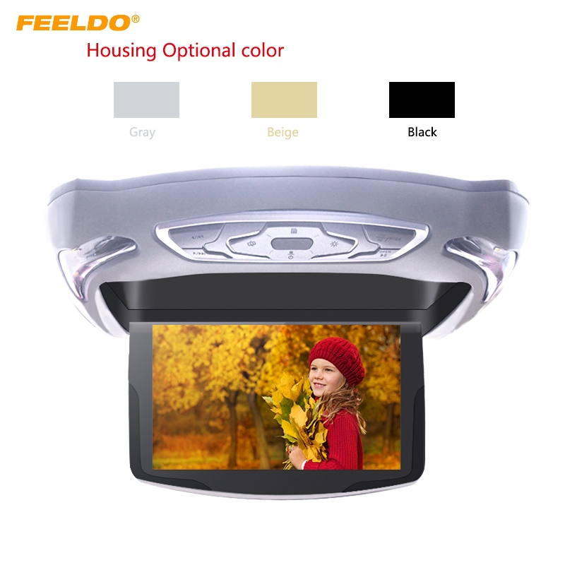 FEELDO 10.1 Inch Car Roof Mounted DVD Player Digital LCD TFT Monitor Celling Flip Down DVD USB FM TV Game IR Remote #AM977 black 2pcs lot universal digital tft screen zipper car headrest dvd player monitor usb fm game disc remote with 2 x ir headsets