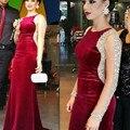 2016 Long Sleeves Mermaid Crystal Burgundy Velvet Celebrity Dress Red Carpet Dress