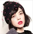 (1 piece/lot) 100% cotton women's fashion Skullies & Beanies romantic colored snowflakes Net yarn mantilla caps (Black, gray)
