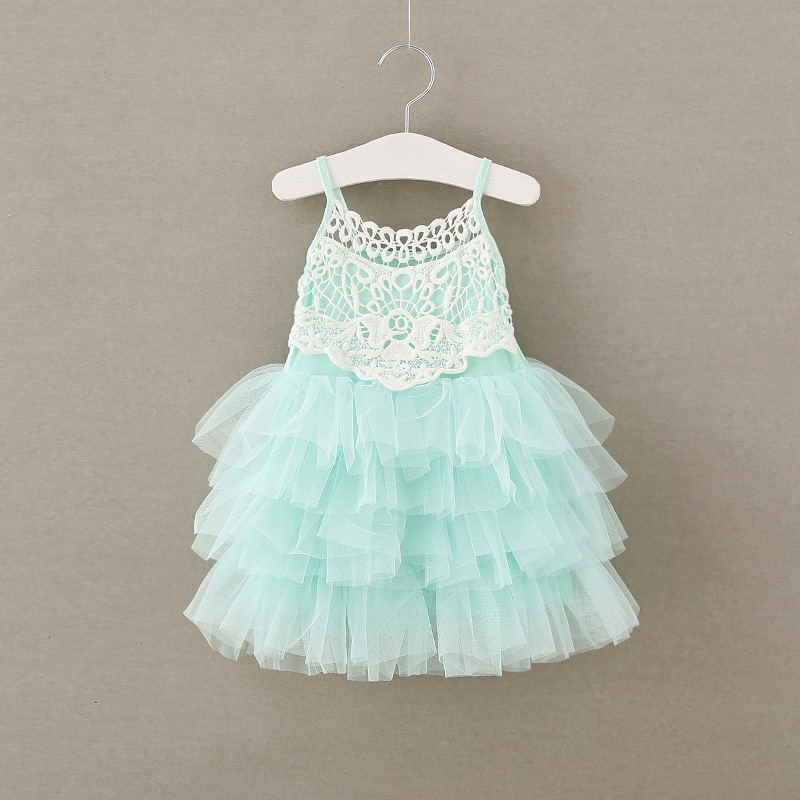 Baby   Girl   Lace Yarn Cake Layered Sling   Dresses   Princess Cute   Flower     Girl     Dress   Patterns