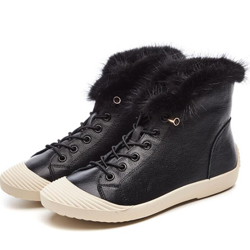 2018 Winter Boots Women Snow Boots Flat Heels new Fashion Winter Shoes Warm Fur Boot Mid-Calf Spring Autumn Women's Shoes
