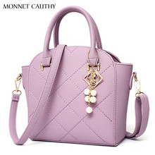 MONNET CAUTHY 2017 New Fashion Female Bags Solid Color Pink Grey Black White Lavender Sky Blue Totes Sweet Girls Crossbody Bag