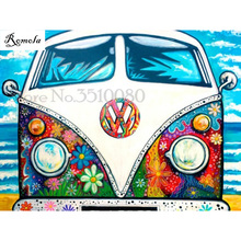 New Cartoon Bus room decor Full square Embroidery Pattern diamond 5D DIY paintings Cross stitch kits stickers RS2130