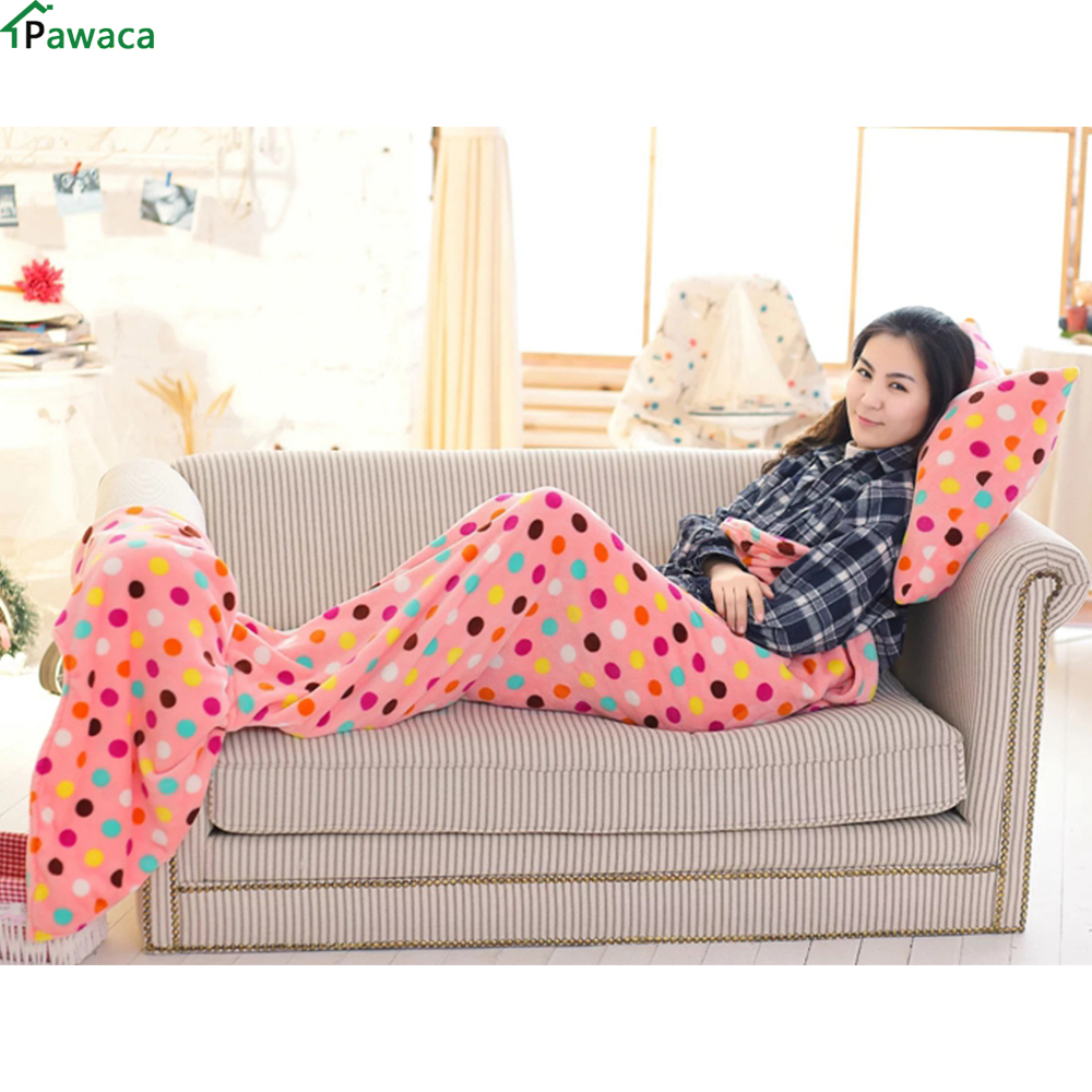 Christmas Gift Bowknot Pillow Mermaid Blanket Plaid On The Sofa Fish Tail Blanket Sofa Nap Sleeping Blanket Home Sofa Decoration
