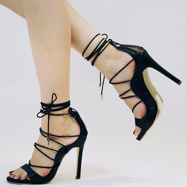 Roni Bouker Hot Seller Woman Sandals Summer Cross Lace Up High Heels  Gladiator Platform Peep Toe Lady Real Leather Shoes 6558c9624e75