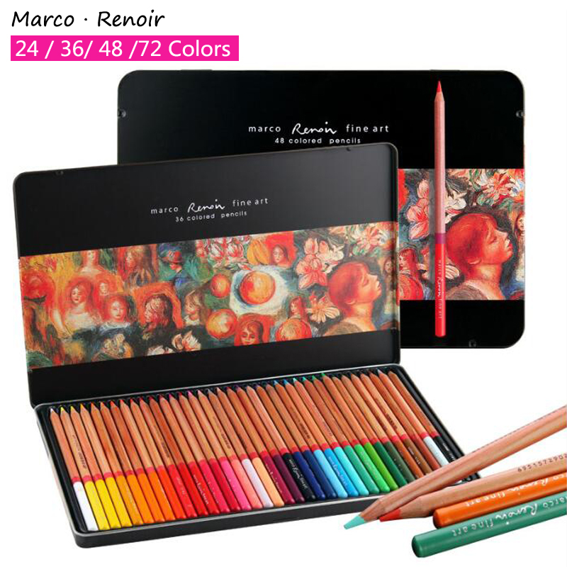 Marco Renoir Professional Color Pencil Iron Box Crayon Colored Pencils Coloring Drawing crayon de couleur Student Art Supplies цена