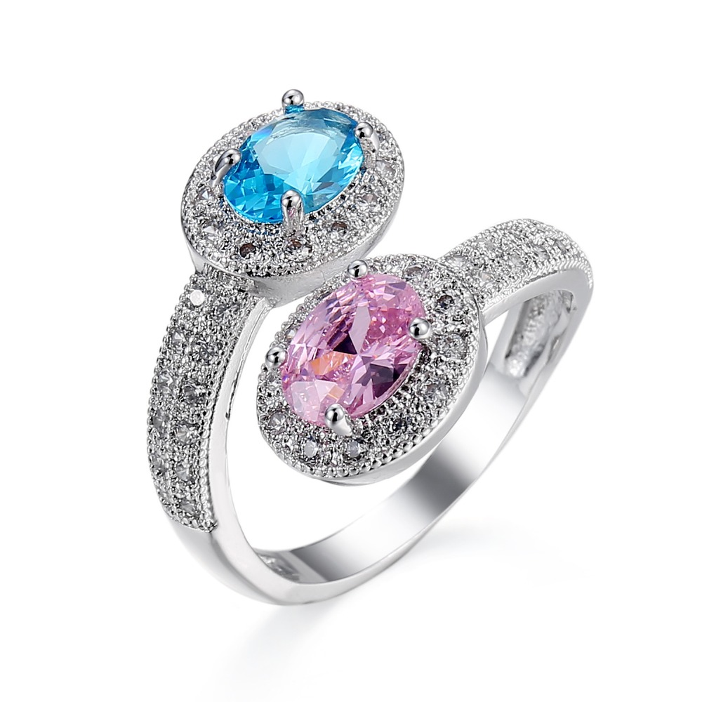 Silver Plated Luxury Blue and Pink Zirkon Crystal Ring AAA CZ zircon Jewelry Wedding Rings Size