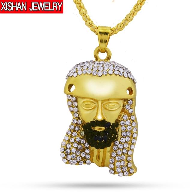 Golden jesus head pendants necklaces high quality fashion hiphop golden jesus head pendants necklaces high quality fashion hiphop gold color 80cm long chain statement necklace mozeypictures Gallery