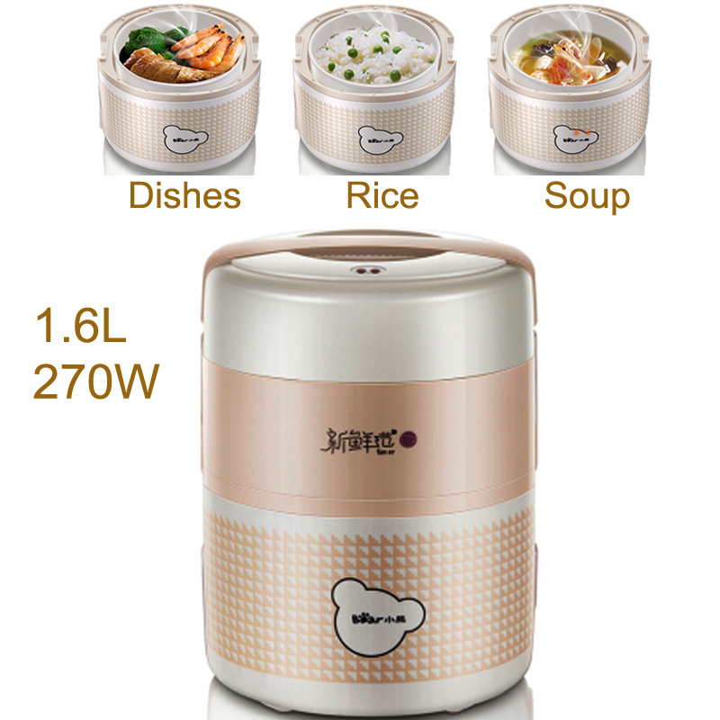 15% JA144 Double-layer Electric Heating Lunch Box 1.6L 270W Reservation Timing Heat Preservation Food Warmer Electric Pot multi function electric lunch box stainless steel tank household pluggable electric heating insulation lunch box