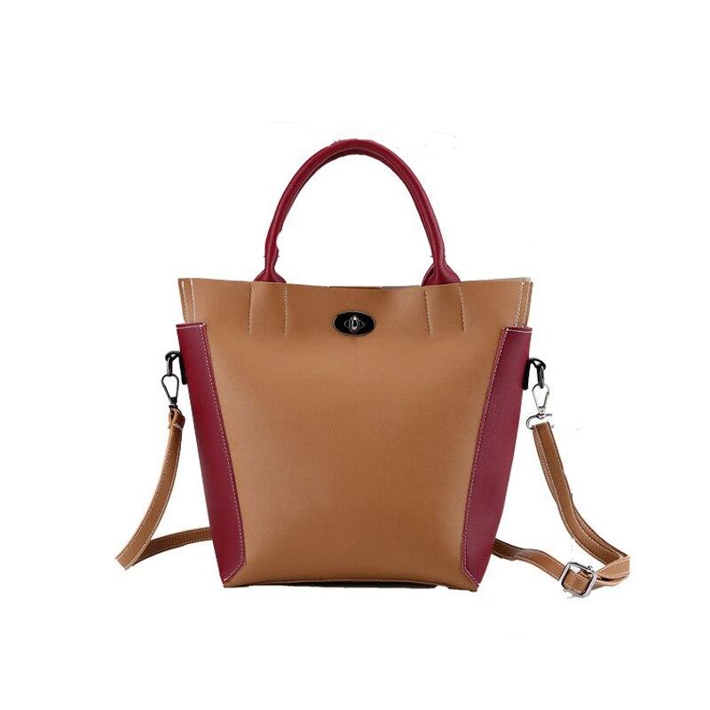 2018 New Women's Bucket Bag Trend Simple Versatile Stitching Women's Handbag Messenger Bag Shoulder Bag