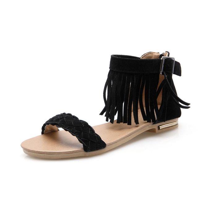 a29badc12 new comfort level with sandals tassel zipper Ms. belt buckle flat shoes  sandals students