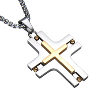 HIP Width Cross Jesus Charm Necklace Gold Color Stainless Steel Personality Pendants & Necklaces For Men Jewelry