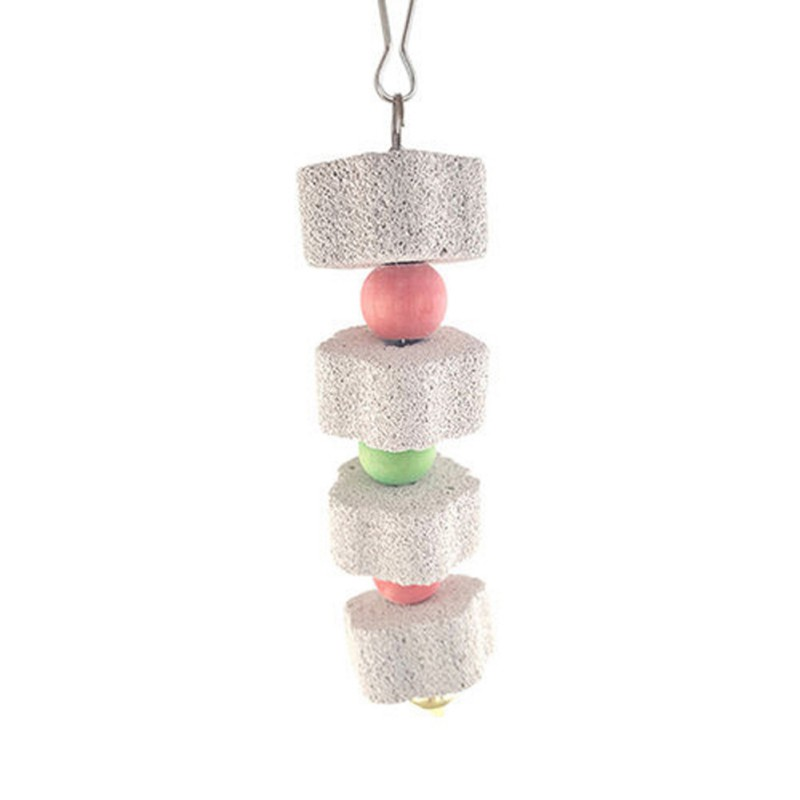 Birds Parrot Grinding Stone Chewing Toy Mouth Molars Stone Toys Hanging String Parrot Cage Parakeet Cockatiel Toy Mineral