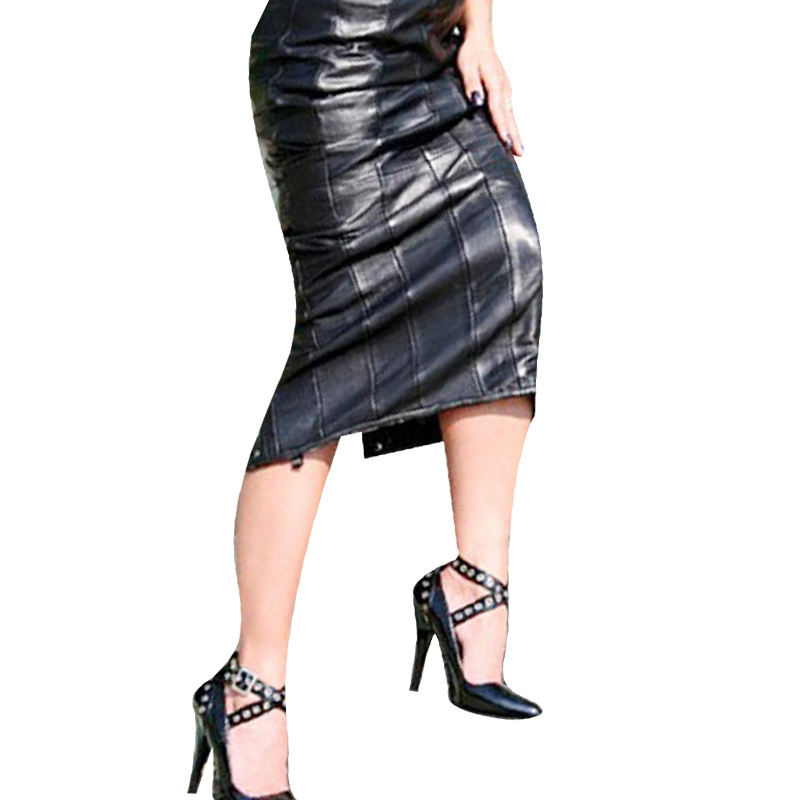 Pu Leather Skirt Sexy Women Slim High Waist Straight Black -1911