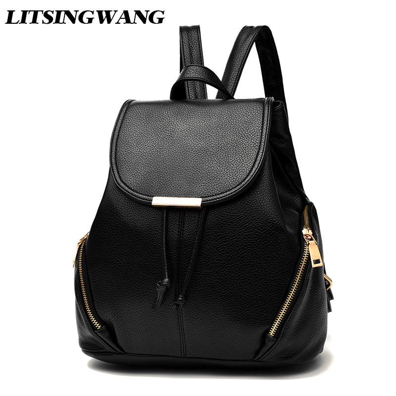 LITSINGWANG Women PU Leather Backpack Female Fashion Backpacks Small Bags For Girls Preppy Style Student Schoolbag Soft Cover melodycollection candy color pu leather mini backpack for women girls purse fashion schoolbag mini casual daypack dome backpacks