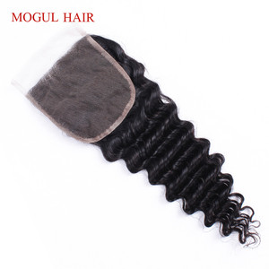 Image 2 - MOGUL HAIR Deep Wave 4*4 Lace Closure Natural Color 2, 4 Dark Brown 1B 27 Ombre Honey Blonde Indian Remy Human Hair