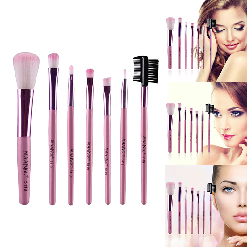 7pcs/kits Professional Nylon Makeup Brushes Set Cosmetics Foundation Brush Tools For Face Powder Eye Shadow Eyeliner Lip цена 2017